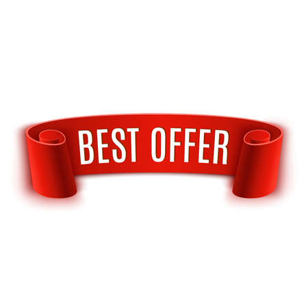 papier banner: Red realistic detailed curved paper banner. Best offer. Ribbon. Vector illustration
