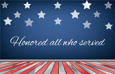 estrellas  de militares: Veteranos día fondo de la bandera EE.UU.. Ilustración vectorial