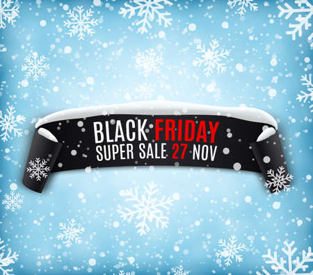 winter sale: Black Friday sale background with black realistic ribbon banner and snow. Sale. Winter sale. Christmas sale. New year sale. Vector illustration