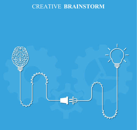 science symbols metaphors: Creative brainstorm concept business and education idea, innovation and solution, creative design, vector illustration