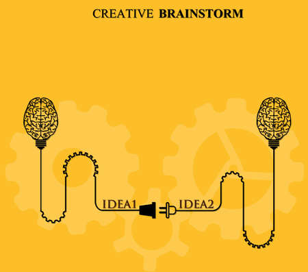 brainstorm: Creative brainstorm concept business and education idea, innovation and solution, creative design, vector illustration