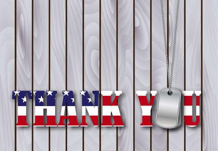 militaire dog tag dank u met vlag lettertype op verweerde schuur hout achtergrond. vector illustratie Stock Illustratie