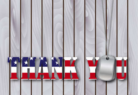 thanks: military dog tag thank you with flag font on weathered barn wood background. vector illustration