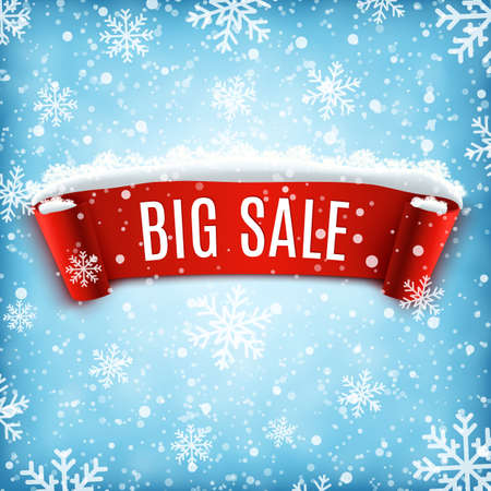 big: Winter sale background with red realistic ribbon banner and snow. Sale. Winter sale. Christmas sale. New year sale. Vector illustration