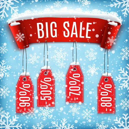 and in winter: Winter sale background with red realistic ribbon banner and snow. Sale. Winter sale. Christmas sale. New year sale. Vector illustration