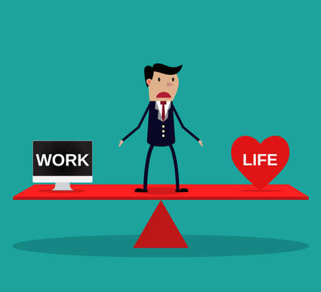 balance icon: Businessman balance Work and life. vector. flat design. vector illustration