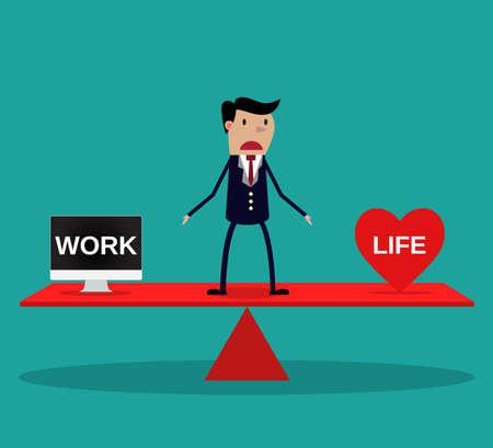 balance: Businessman balance Work and life. vector. flat design. vector illustration