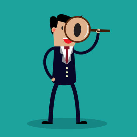 len: Search. Businessman looking through a magnifying glass. Business flat vector illustration. vector illustration
