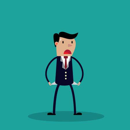 debt: Businessman has no money. vector illustration. business concept.  vector illustration