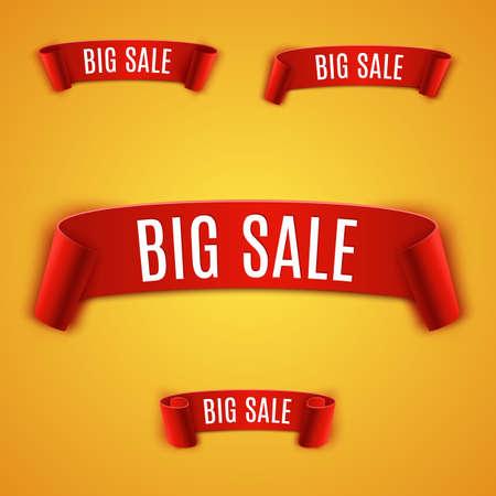 the label the market: Set Curved ribbon. Realistic detailed red paper banner, ribbon on orange background. big sale. Vector illustration.