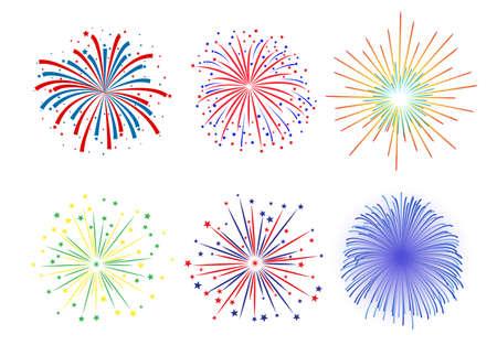 julio: Diseño del fuego artificial situado en el fondo blanco. ilustración vectorial, Vectores