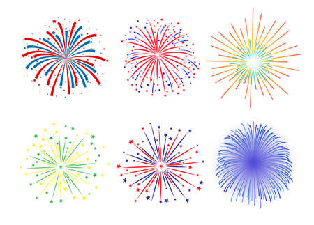 christmas in july: Set Firework design on white background. vector illustration,