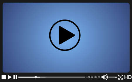 Video player template for web, movie screen  vector illustration