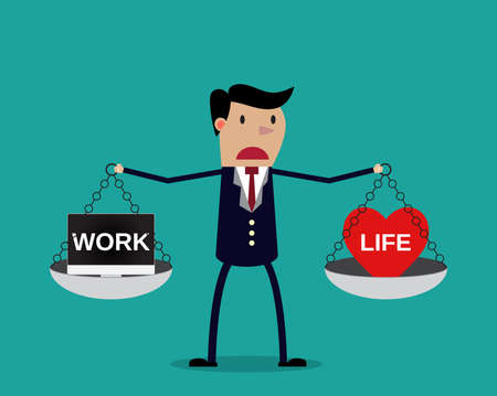 ethical: Cartoon businessman balancing Work and life on two weighing trays on both arms. Creative vector illustration for ethical dilemma concept isolated on green background. Illustration
