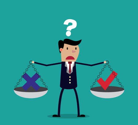 Cartoon businessman balancing cross and tick symbol on two weighing trays on both arms. Creative vector illustration for ethical dilemma concept isolated on green background.