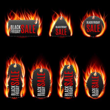 burning paper: Vector fire labels set. black friday sale, special tag or badge, business promotion. Vector illustration Illustration