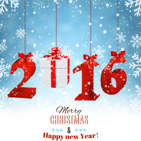 new years: 2016 New Years background with gift box.  Illustration
