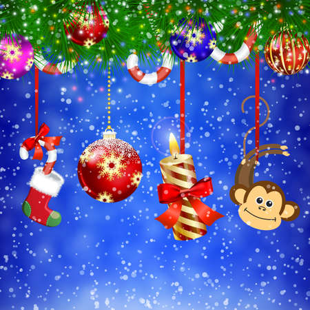 dangle: funny numbers of new year hanging from the  the fir tree .