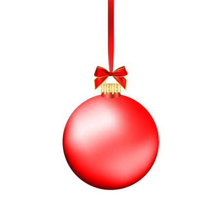 Christmas ball with red ribbon. Vector Illustration. Çizim