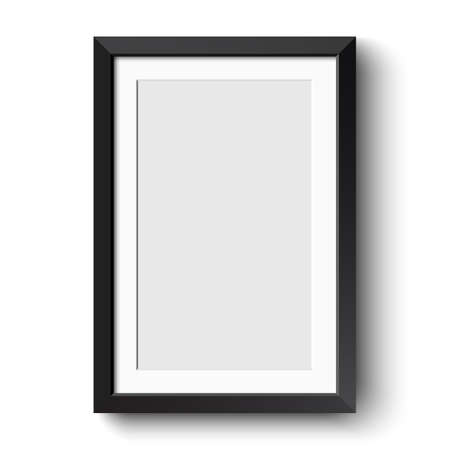 picture: Realistic picture frame isolated on white background.