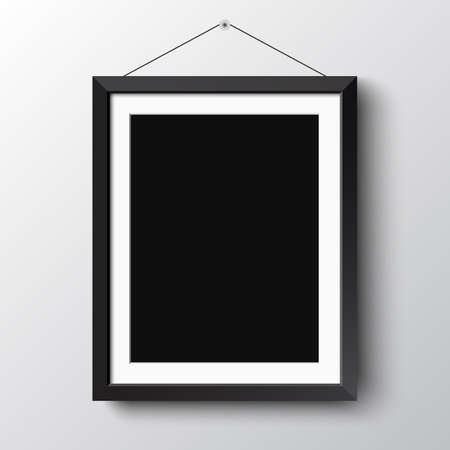 simple frame: Realistic vertical black photo picture frame at light background.  Illustration