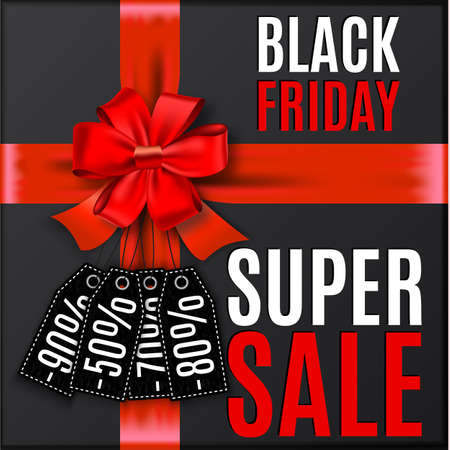 discount tag: Black friday background with red bow and ribbons with discount tag and place for text.