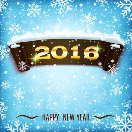 happy christmas: Happy New Year 2016 celebration background with realistic curved ribbon and snowflakes.