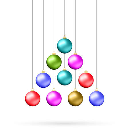color balls: Ten multicolored christmas balls hanging like fir tree isolated on white background