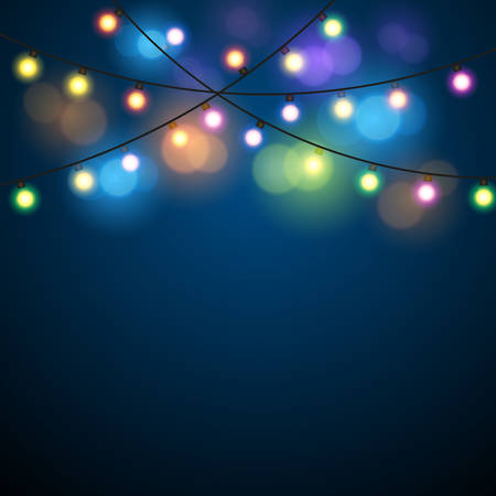 Glowing Lights - Colorful Fairy Lights Background. Christmas Lights Background. Vector illustration Stok Fotoğraf - 48093115