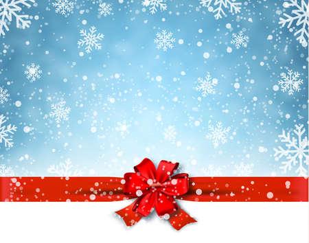 冬背景と赤の弓。ベクトル図