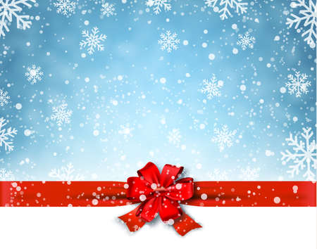 Winter background with red bow. Vector Illustration