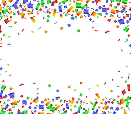 colorful frame: Colorful celebration frame background with confetti. Vector background. Illustration