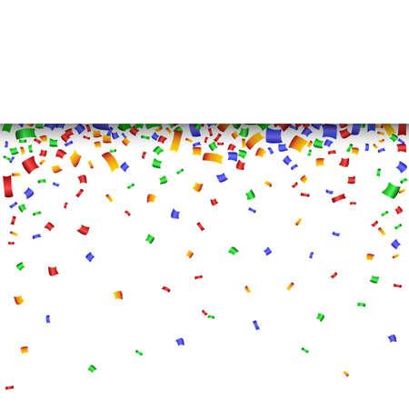 facia: Colorful strip celebration background with confetti. Vector Illustration. Illustration