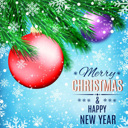 postal card: Fir tree branches on winter background with red ball and snowfall. Christmas and New Year theme. Concept for greeting or postal card. Vector illustration.