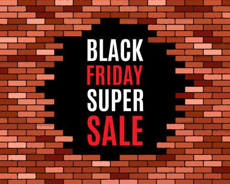 crashed: Broken brick wall,  black friday super sale.  vector eps10 illustration  background