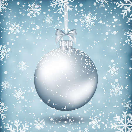 postal card: silver christmas ball with ribbon and bow on light background with snow and snowflakes. template for greeting or postal card new year, vector illustration