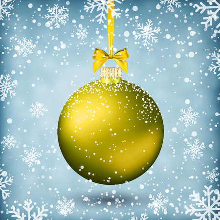 postal card: Gold christmas ball with ribbon and bow on light background with snow and snowflakes. template for greeting or postal card new year, vector illustration