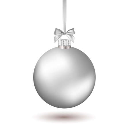 Christmas ball with silver ribbon. Vector Illustration.