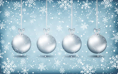 postal card: Four silver christmas balls with ribons at light background with snow and snowflakes. Vector illustration, template for greeting and postal card, promotion