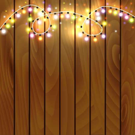 Christmas and New Year design on wooden background with christmas lights garland. Vector illustration