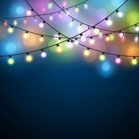 strings: Glowing Lights - Colorful Fairy Lights Background. Christmas Lights Background. Vector illustration