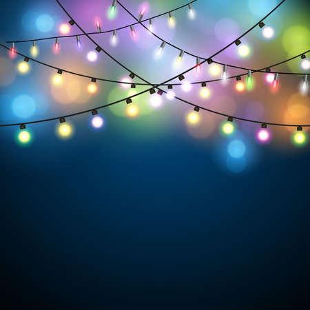 Glowing Lights - Kleurrijke Kerstverlichting Achtergrond. Christmas Lights Achtergrond. vector illustratie