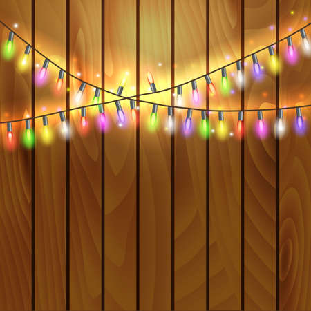 christmas and new year design on wooden background with christmas lights garland vector illustration vector - Christmas Light Garland