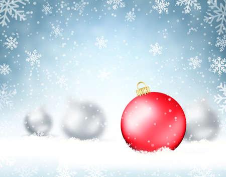 navidad elegante: Ilustración de fondo de Navidad con bolas de cristal y los copos de nieve. Diseño de fiesta para Año Nuevo tarjetas de felicitación, carteles y folletos. ilustración vectorial