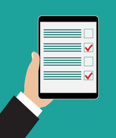 checklist: Hand holding tablet with checklist on it. Flat style. vector illustration