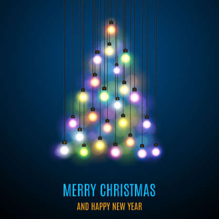 Shiny Christmas tree. Christmas tree from the garland. Glowing Lights - Colorful Fairy Lights Background. Christmas Lights Background. template design. Vector illustration Illustration