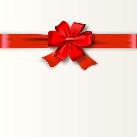 Geschenkkarte mit rotem Bogen mit Platz für Text. Vektor-Illustration. Einladung Dekorative Karten, Gutschein Design, Ferien Einladungs-Entwurf. Standard-Bild - 48412779