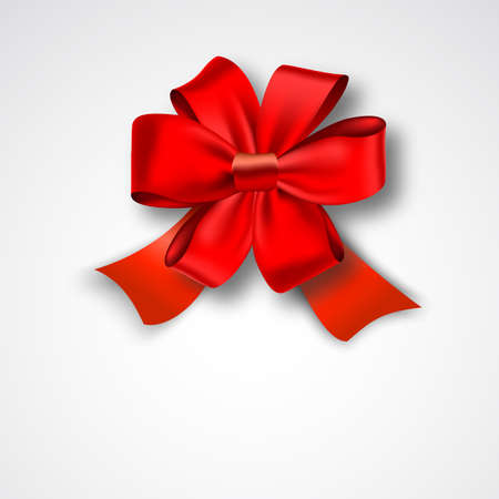 red and white: Red Ribbon Satin Bow Isolated on White. Vector Illustration. Invitation Decorative Card Template, Voucher Design, Holiday Invitation Design.
