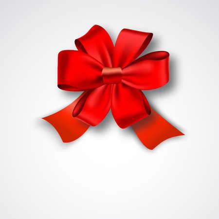 Red Ribbon Satin Bow Isolated on White. Vector Illustration. Invitation Decorative Card Template, Voucher Design, Holiday Invitation Design.