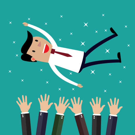 teammates: Businessman get thrown into the air by coworkers during celebration. Vector illustration in flat design on green backgound. Financials, work motivation